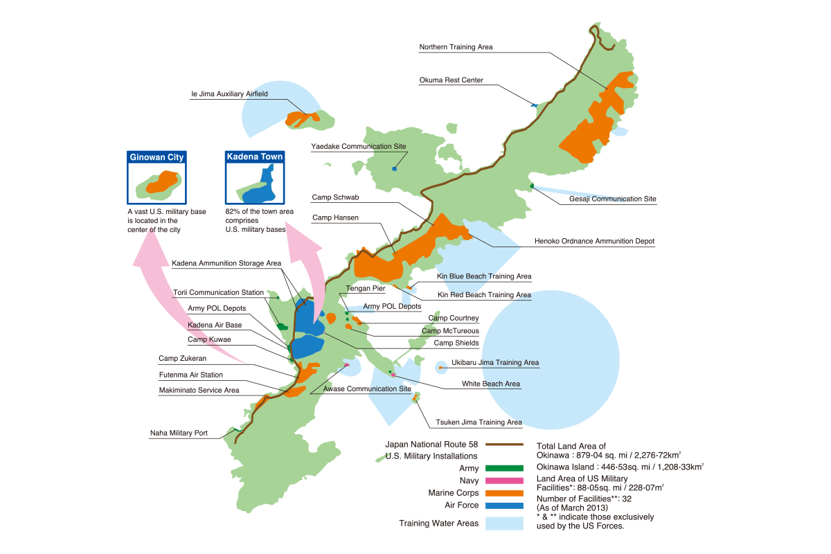 Baserelated Data OKINAWA PREFECTURAL GOVERNMENT Washington DC - Us military bases in okinawa map